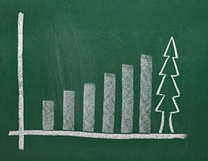 close up of chalkboard with finance business graph and christmas tree